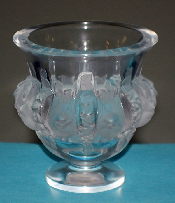 "1: LALIQUE MOLDED & FROSTED ""DAMPIERRE"" VASE"