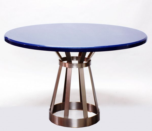 22: POLISHED STEEL AND BLUE SILESTONE TABLE