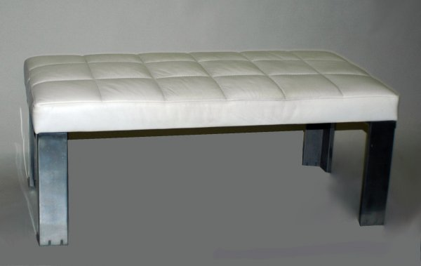 23: CONTEMPORARY SIBOGA  LEATHER AND STEEL BENCH