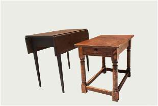 GEORGIAN MAHOGANY DROPLEAF TABLE & PINE SIDE TABLE