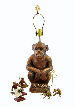 GROUP OF WHIMISCAL MONKEY TABLE ITEMS