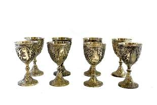 EIGHT SILVER PLATE GOBLETS