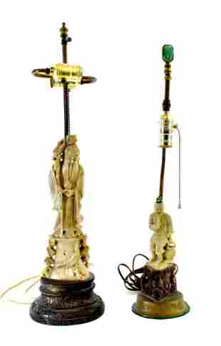TWO CHINESE CARVED SOAPSTONE FIGURAL LAMPS