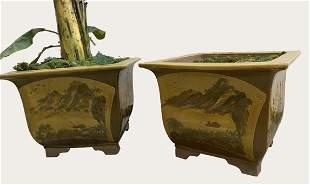 TWO PAIR OF CHINESE CERAMIC BROWN GLAZED JARDINIERES