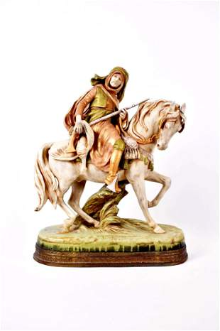 ROYAL DUX PORCELAIN ARAB ON HORSEBACK