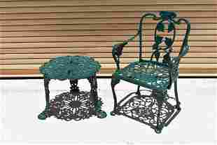 CAST IRON PATIO CHAIR AND SMALL TABLE