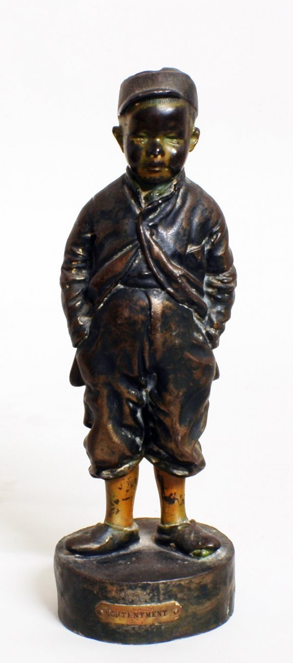 3: PAINTED AND PATINATED WHITE METAL FIGURE OF A BOY