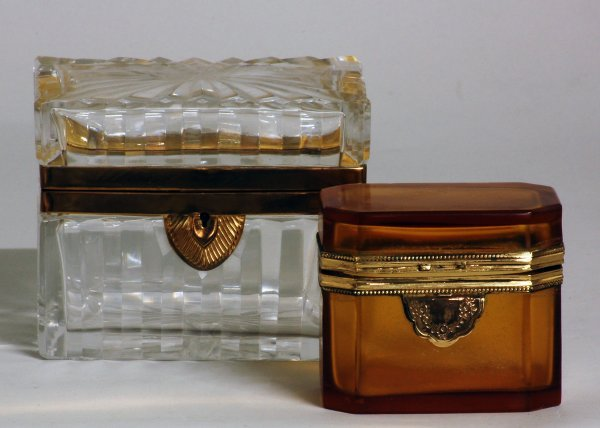 7: TWO BRASS MOUNTED GLASS BOXES
