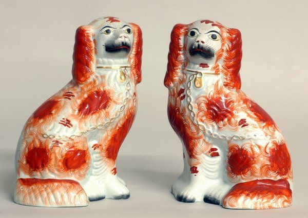 8: PAIR OF STAFFORDSHIRE POTTERY DOGS