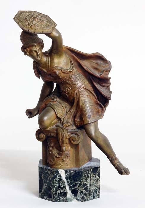 9: GILT BRONZE FIGURE OF A FEMALE WARRIOR