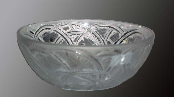 "282: LALIQUE MOLDED & FROSTED CRYSTAL ""PINSONS"" BOWL"