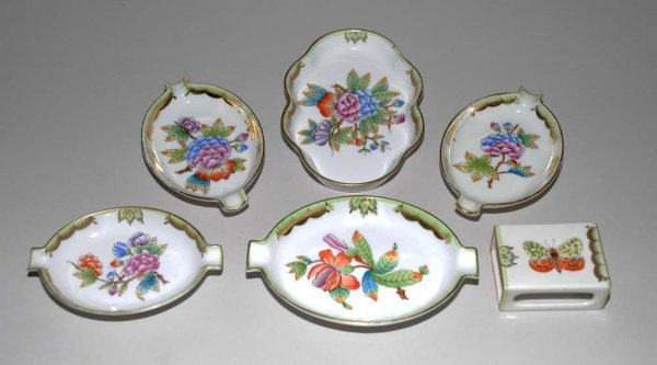 3: GROUP OF SIX HEREND PORCELAIN ARTICLES