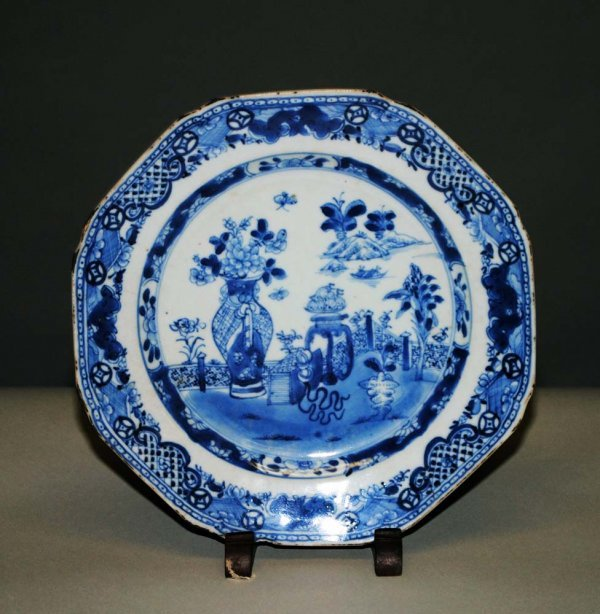 9: BLUE AND WHITE EXPORT PORCELAIN PLATE