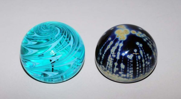 11: TWO GLASS PAPERWEIGHTS