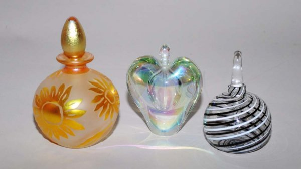 13: GROUP OF THREE CONTEMPORARY GLASS SCENT BOTTLES