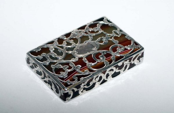 15: STERLING SILVER MOUNTED AGATE PAPERWEIGHT