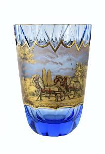 BOHEMIAN GILT DECORATED CUT BLUE GLASS VASE