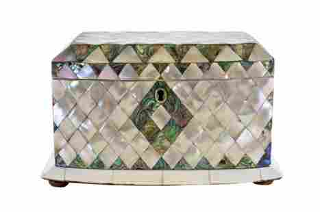 VICTORIAN ABALONE AND MOTHER-OF-PEARL TEA CADDY