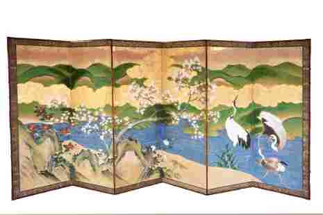 JAPANESE PAINTED AND GILT EIGHT-FOLD SCREEN