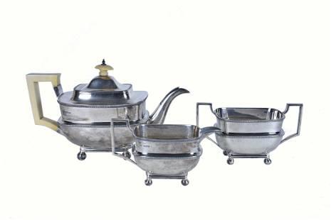 EDWARDIAN SILVER THREE-PIECE SILVER TEA SERVICE