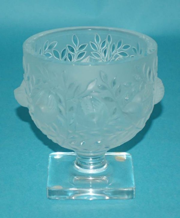 """1: LALIQUE MOLDED & FROSTED """"ROSSIGNOL"""" FOOTED BOWL"""