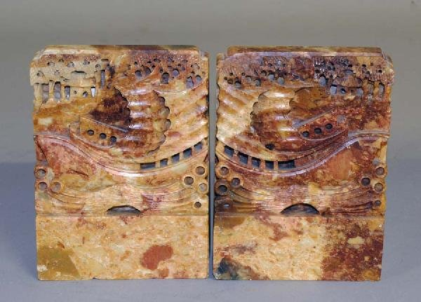 5: PAIR OF CARVED SOAPSTONE BOOKENDS