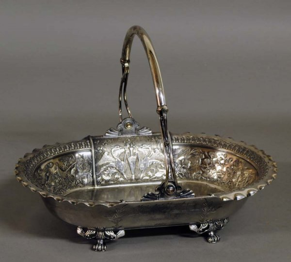 12: VICTORIAN SILVER PLATED BASKET