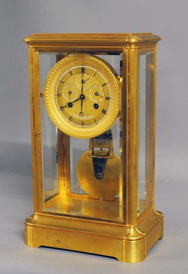 257: GOOD GILT BRONZE FOUR GLASS CASE MANTEL CLOCK