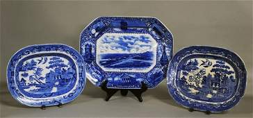 365 STAFFORDSHIRE BLUE AND WHITE POTTERY PLATTER