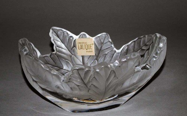"1: LALIQUE MOLDED & FROSTED CRYSTAL ""COMPIEGNE"" BOWL"