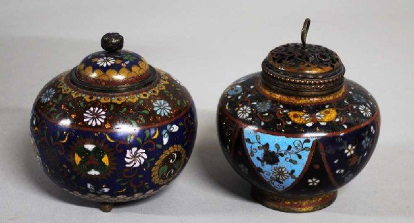 13: TWO CLOISONNE ENAMEL JARS AND COVERS