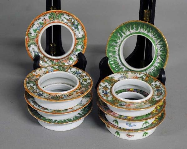 14: GROUP OF EIGHT PORCELAIN TEA CUP STANDS