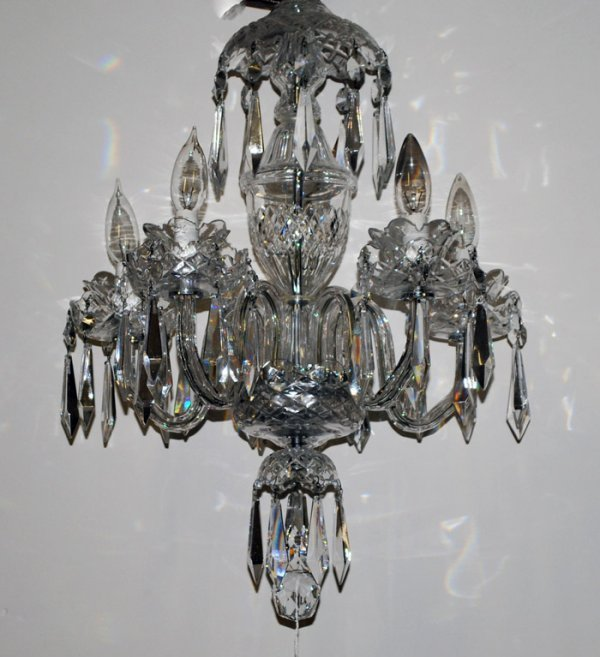 23: WATERFORD CRYSTAL FIVE LIGHT CHANDELIER