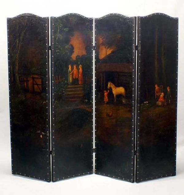 85: FOUR PANEL PAINTED LEATHER SCREEN