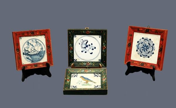 607: Four Delft Antique Tiles