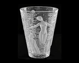"1: LALIQUE MOLDED, FROSTED AND CLEAR VASE ""ONDINES"""