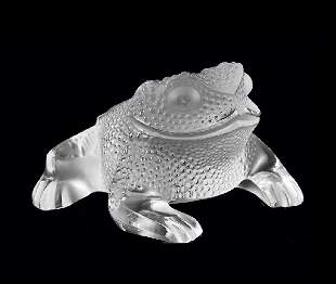 "2: LALIQUE MOLDED AND FROSTED CRYSTAL ""GREGOIRE"" TOAD"