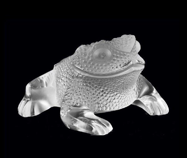 """2: LALIQUE MOLDED AND FROSTED CRYSTAL """"GREGOIRE"""" TOAD"""