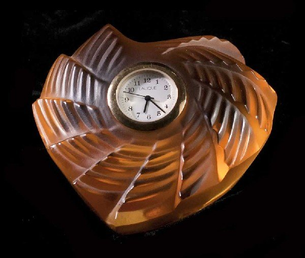 "3: LALIQUE MOLDED GOLD CRYSTAL ""HEART"" TABLE CLOCK"