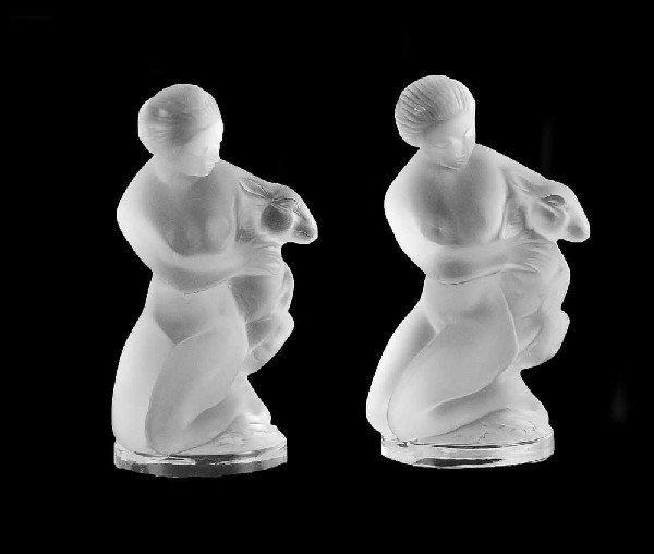 5: PAIR OF LALIQUE MOLDED AND FROSTED CRYSTAL FIGURES