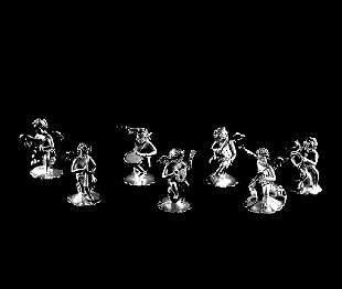 7: SET OF SEVEN STERLING SILVER FIGURES OF ANGELS