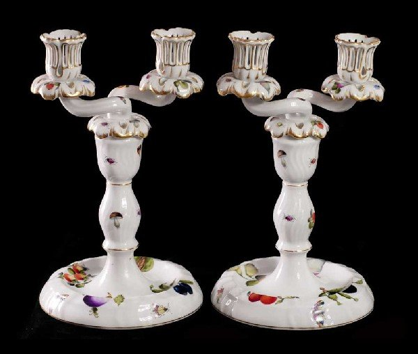 9: PAIR OF HEREND PORCELAIN TWO LIGHT CANDELABRAS