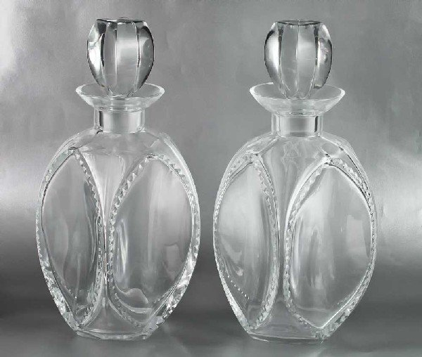 "14: PAIR OF LALIQUE CRYSTAL ""KENT"" DECANTERS"