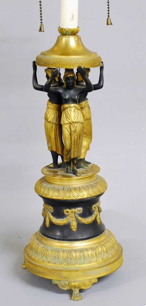35: SECOND EMPIRE GILT AND PATINATED FIGURAL LAMP