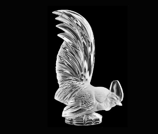 """51: LALIQUE MOLDED, FROSTED & CLEAR CRYSTAL """"COQ NAIN"""""""