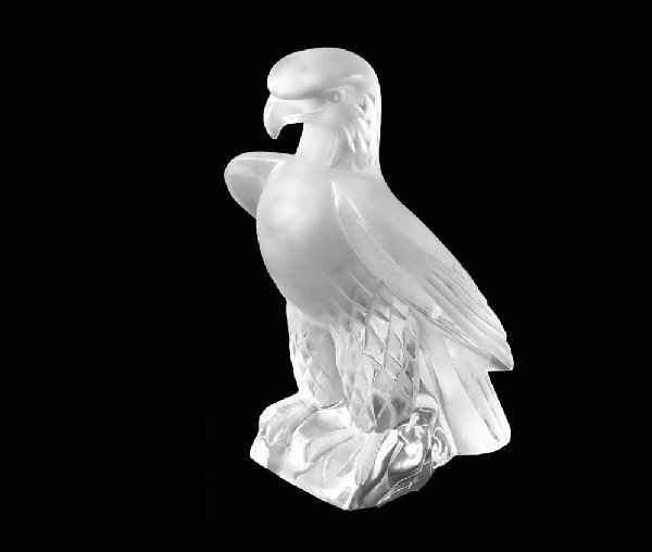 52: LALIQUE MOLDED AND FROSTED CRYSTAL LIBERTY EAGLE