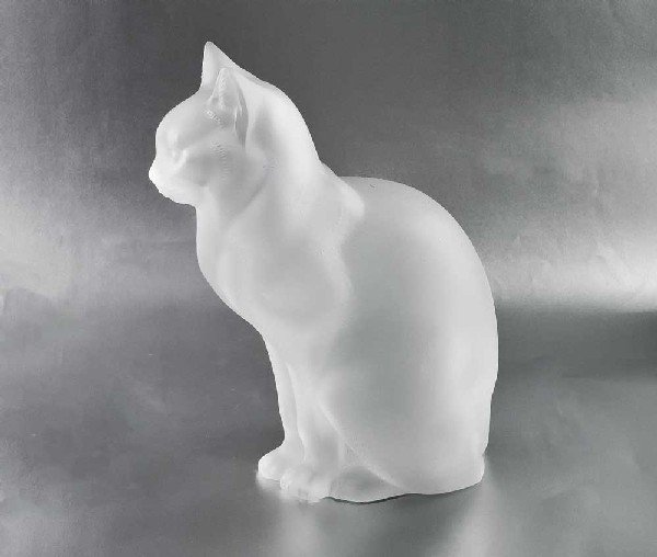 53: LALIQUE MOLDED AND FROSTED CRYSTAL SITTING CAT