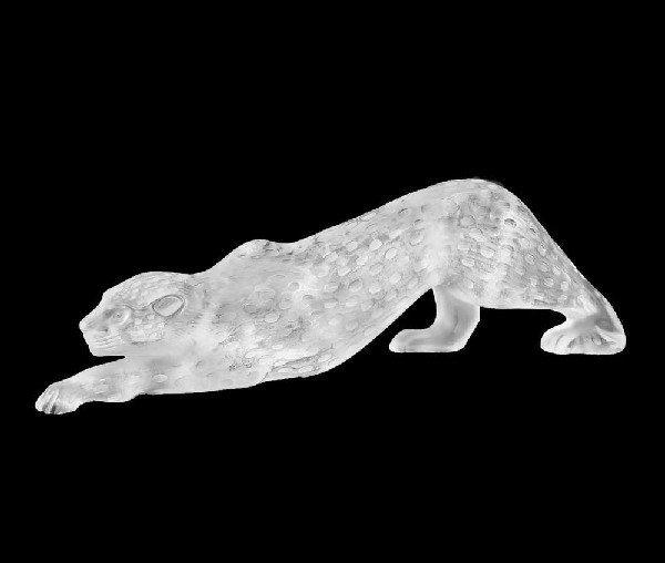 """55: LALIQUE MOLDED AND FROSTED CRYSTAL PANTHER """"ZEILA"""""""