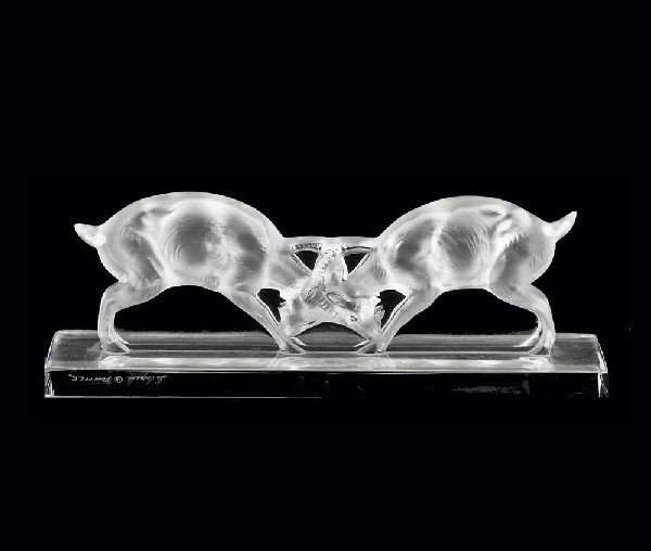 "340: LALIQUE FROSTED & CLEAR CRYSTAL ""FIGHTING GOATS"""