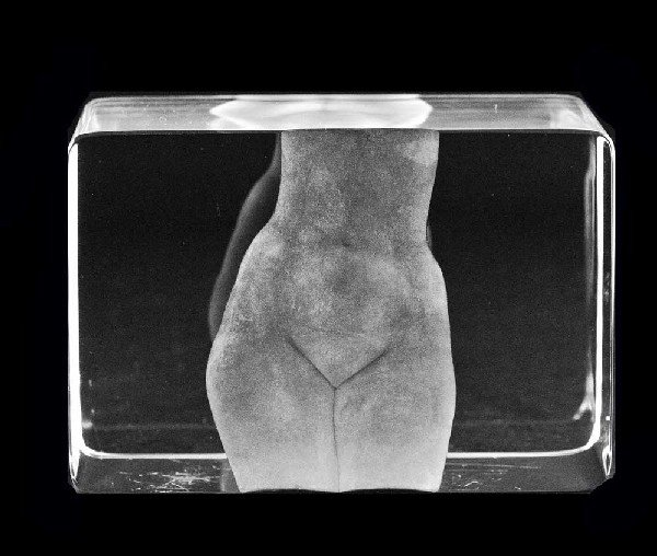 341: CLEAR CRYSTAL BLOCK OF A NUDE TORSO